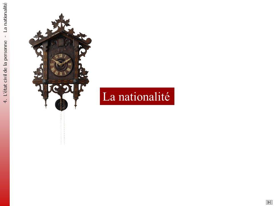 La nationalité 4. L'état civil de la personne - La nationalité
