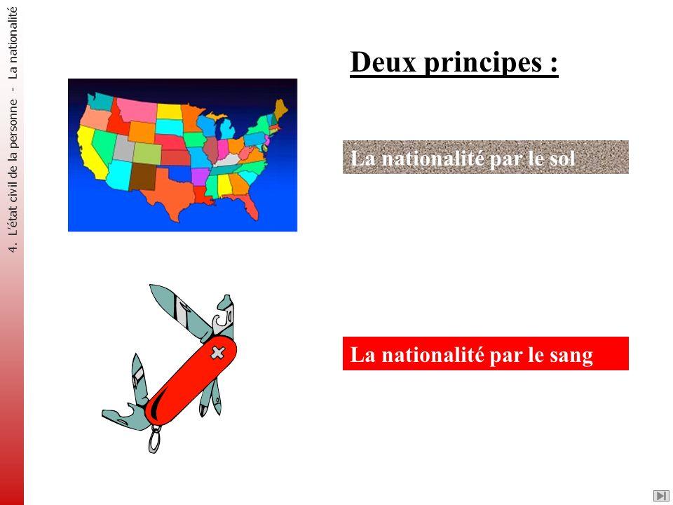 Deux principes : La nationalité par le sol La nationalité par le sang