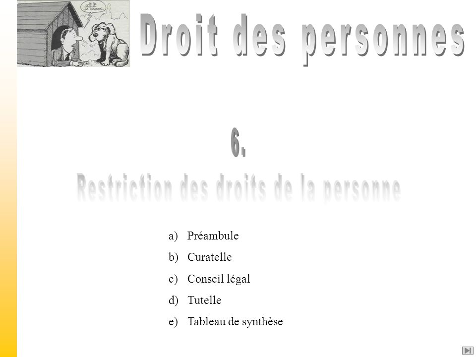 Restriction des droits de la personne