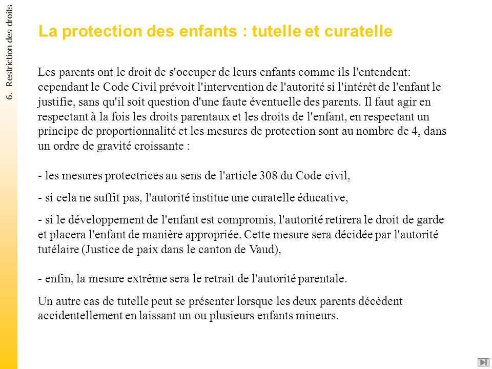 La protection des enfants : tutelle et curatelle