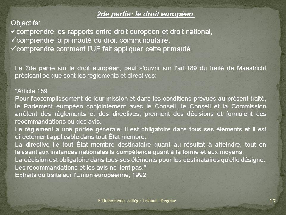 2de partie: le droit européen.