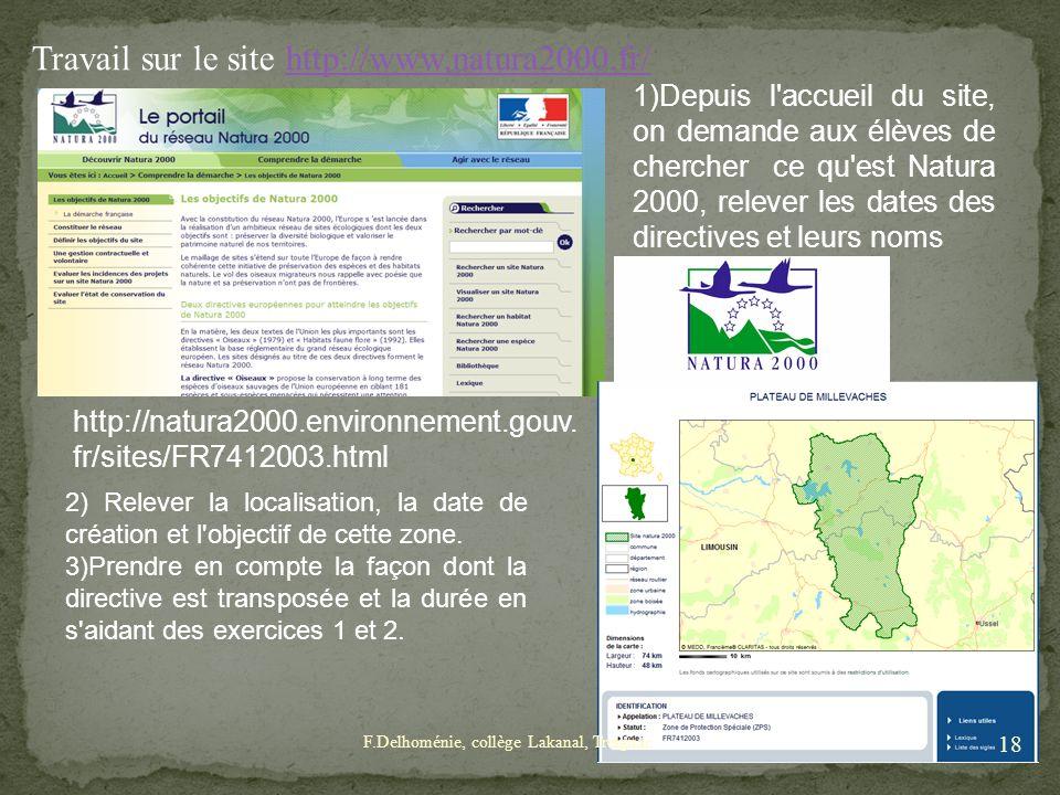 Travail sur le site http://www.natura2000.fr/