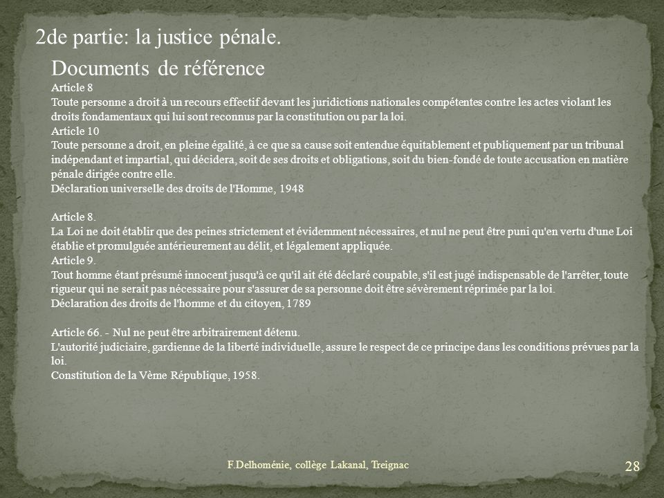 2de partie: la justice pénale. Documents de référence