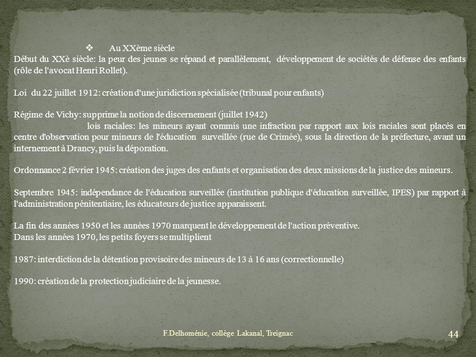 Régime de Vichy: supprime la notion de discernement (juillet 1942)