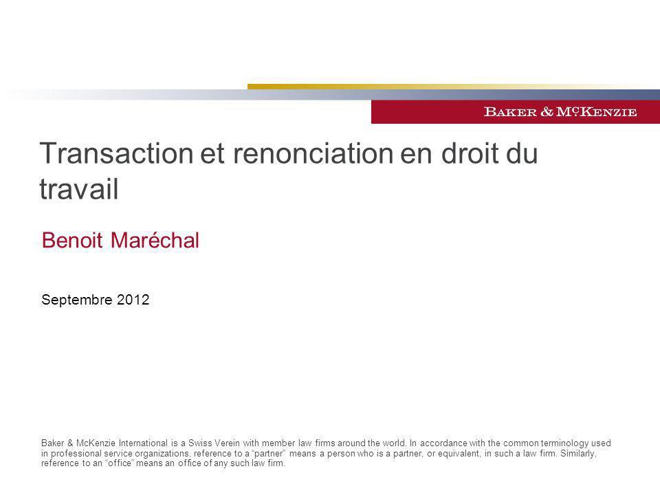 Transaction et renonciation en droit du travail