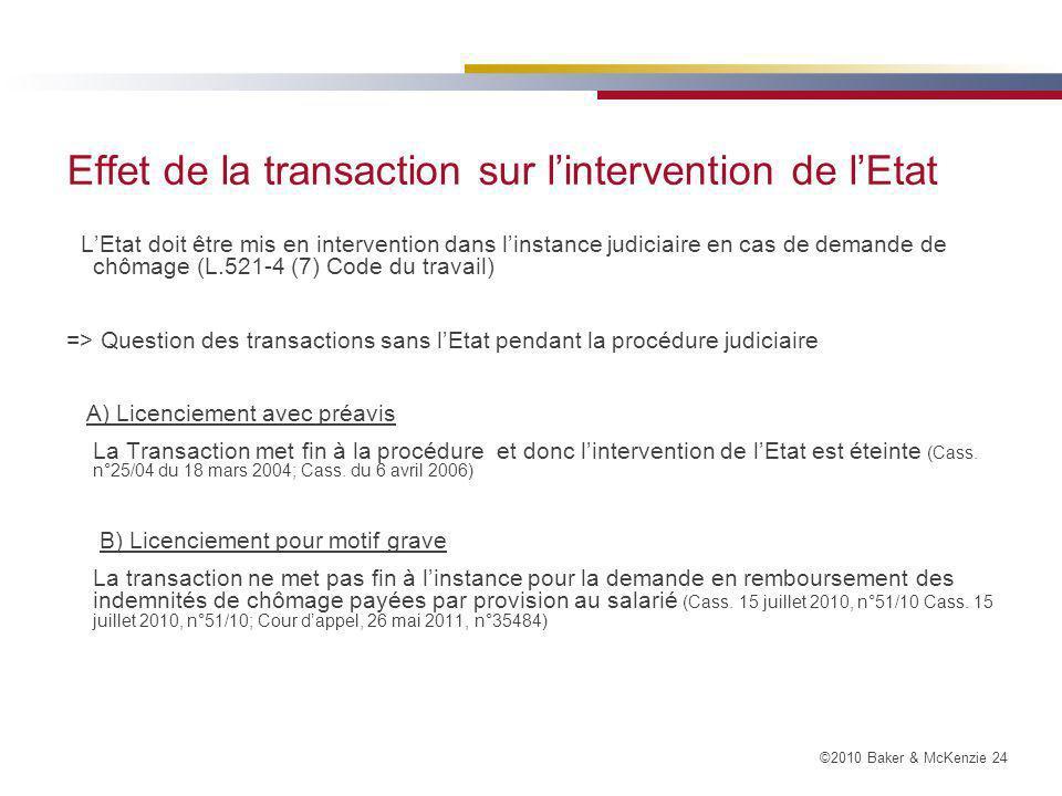 Effet de la transaction sur l'intervention de l'Etat