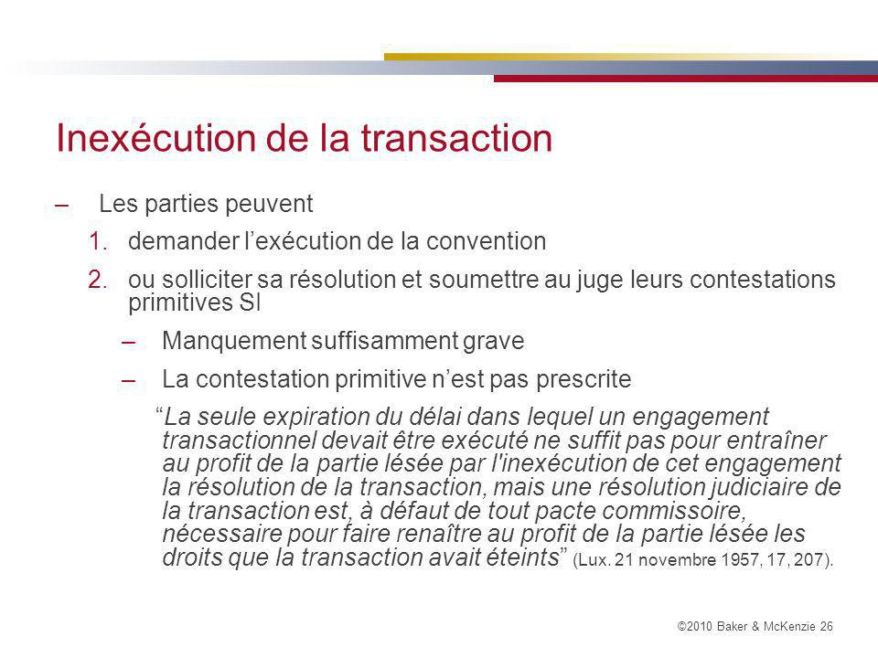 Inexécution de la transaction