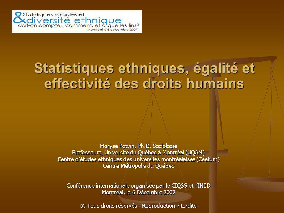 Statistiques ethniques, égalité et effectivité des droits humains