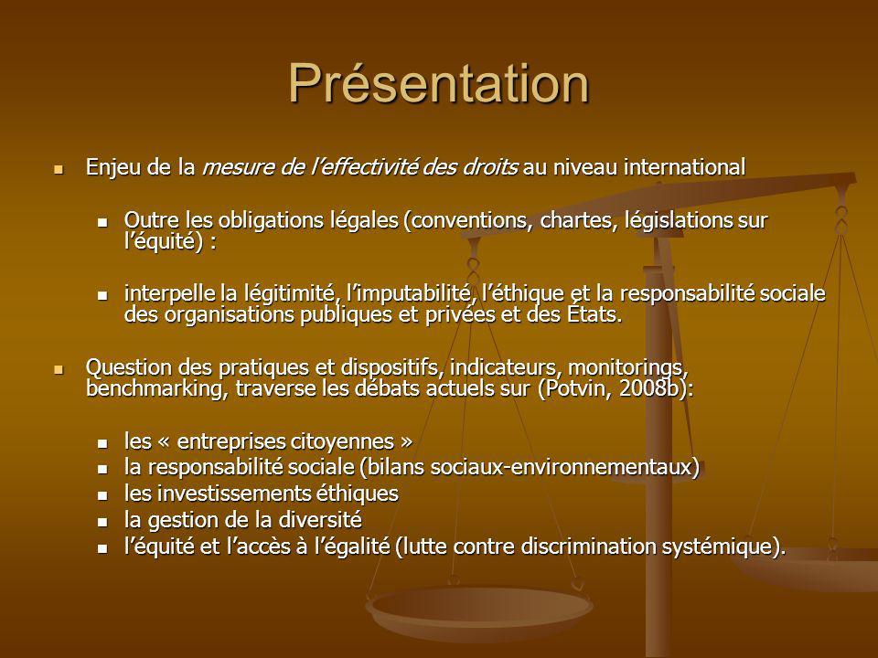 Présentation Enjeu de la mesure de l'effectivité des droits au niveau international.