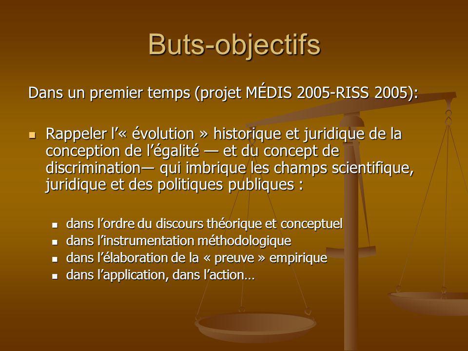 Buts-objectifs Dans un premier temps (projet MÉDIS 2005-RISS 2005):