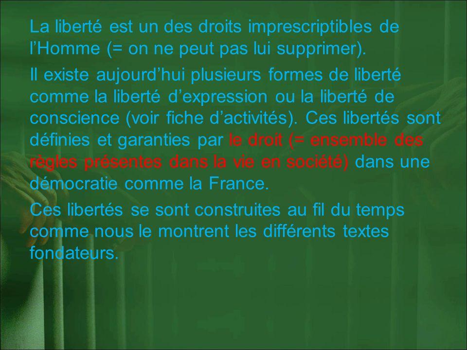 La liberté est un des droits imprescriptibles de l'Homme (= on ne peut pas lui supprimer).