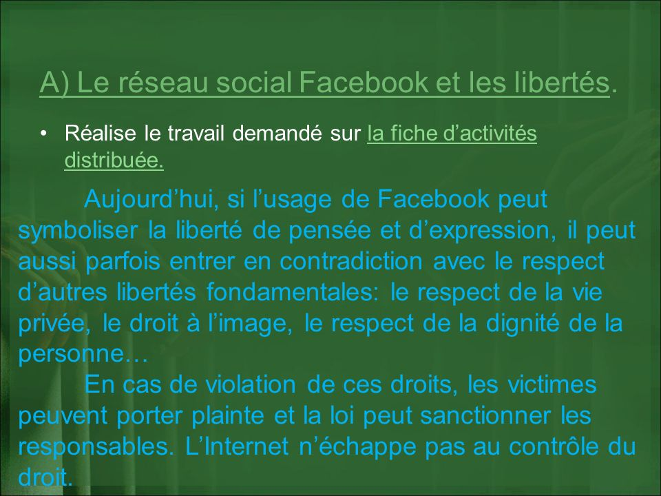 A) Le réseau social Facebook et les libertés.