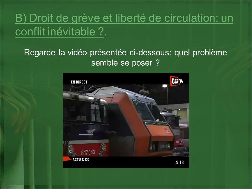 B) Droit de grève et liberté de circulation: un conflit inévitable .