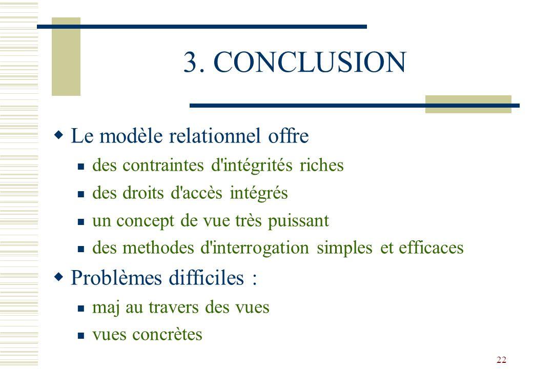 3. CONCLUSION Le modèle relationnel offre Problèmes difficiles :