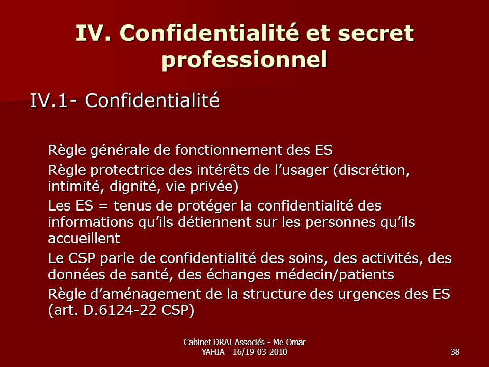 IV. Confidentialité et secret professionnel