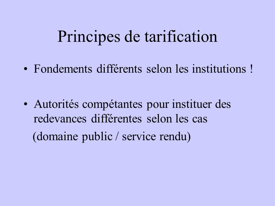 Principes de tarification