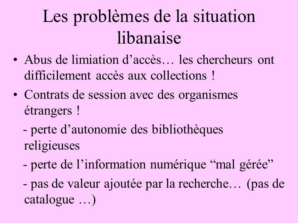 Les problèmes de la situation libanaise