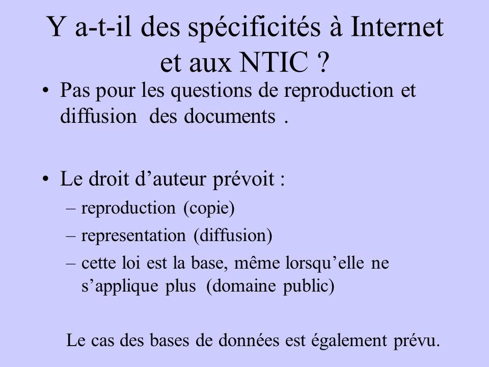 Y a-t-il des spécificités à Internet et aux NTIC