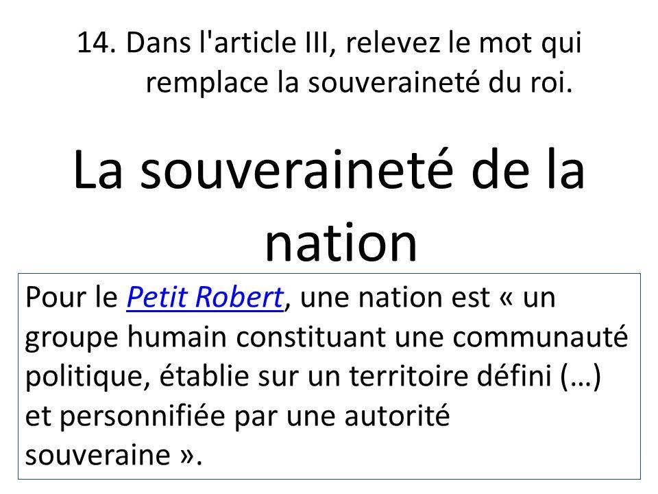 La souveraineté de la nation