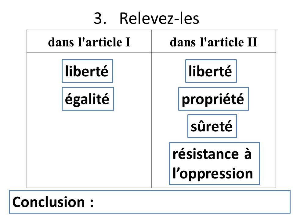 3. Relevez-les liberté liberté égalité propriété sûreté résistance à
