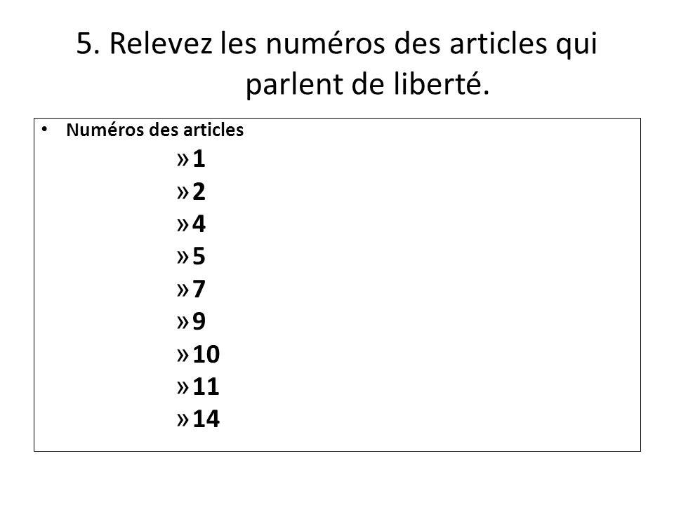 5. Relevez les numéros des articles qui parlent de liberté.