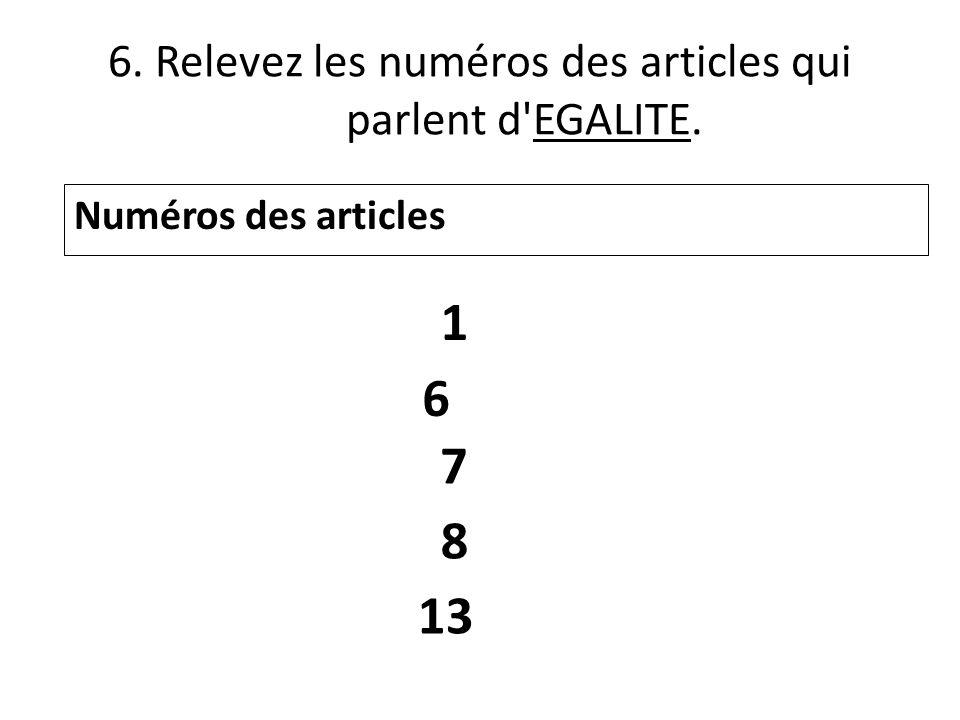 6. Relevez les numéros des articles qui parlent d EGALITE.