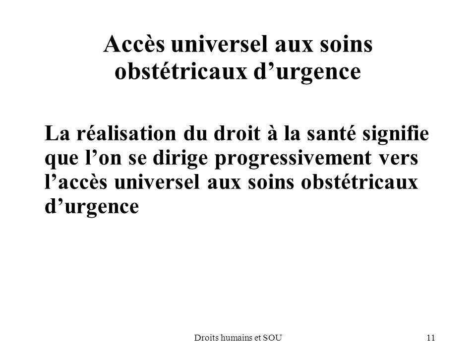 Accès universel aux soins obstétricaux d'urgence