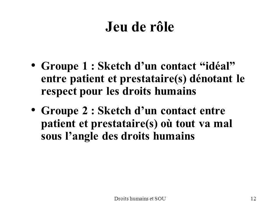 Jeu de rôle Groupe 1 : Sketch d'un contact idéal entre patient et prestataire(s) dénotant le respect pour les droits humains.