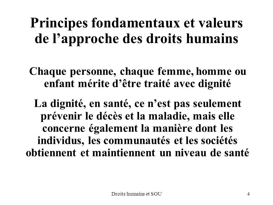 Principes fondamentaux et valeurs de l'approche des droits humains