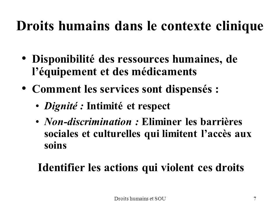 Droits humains dans le contexte clinique