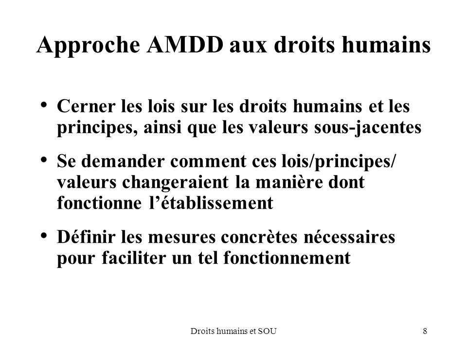 Approche AMDD aux droits humains