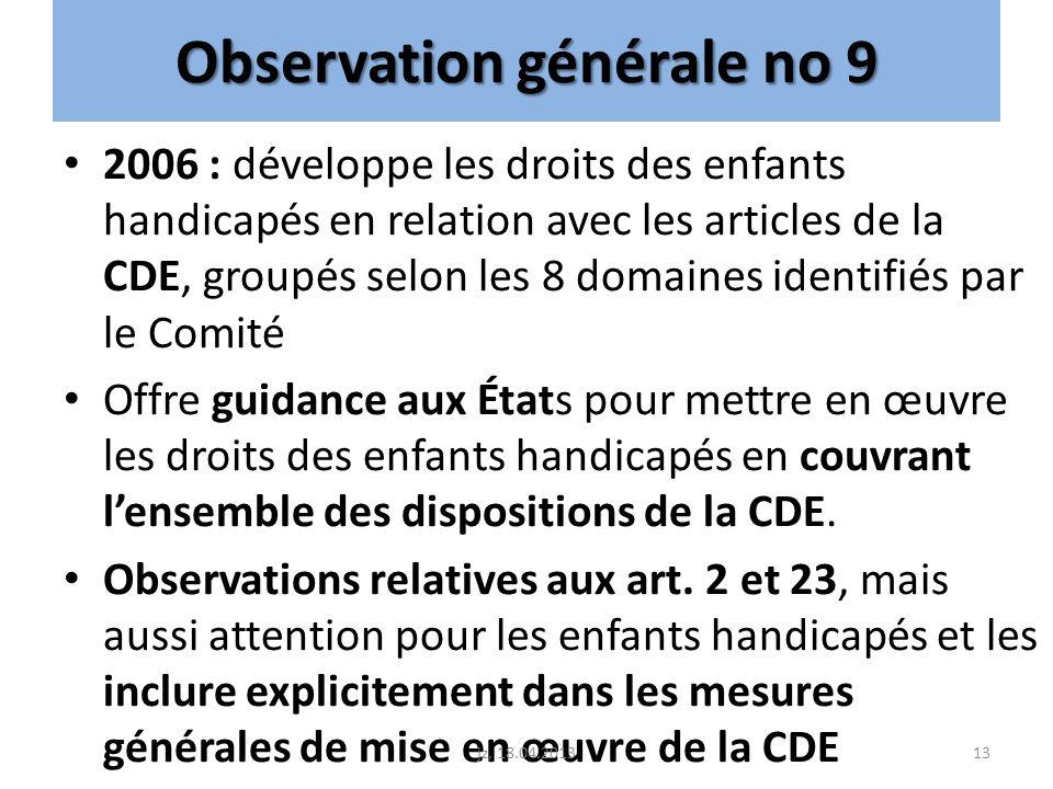 Observation générale no 9