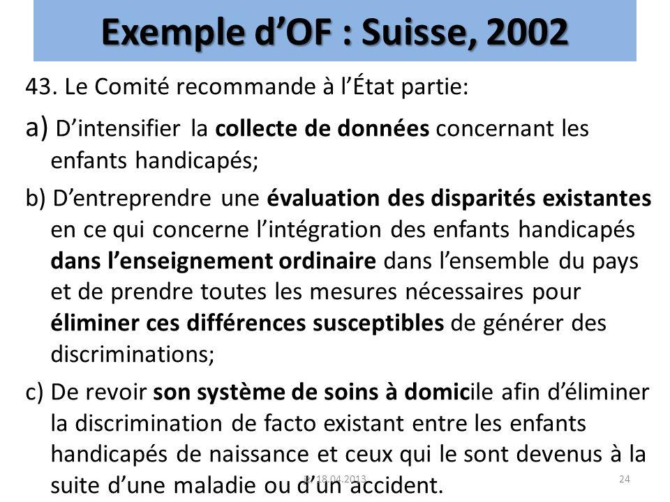 Exemple d'OF : Suisse, 2002 43. Le Comité recommande à l'État partie: a) D'intensifier la collecte de données concernant les enfants handicapés;