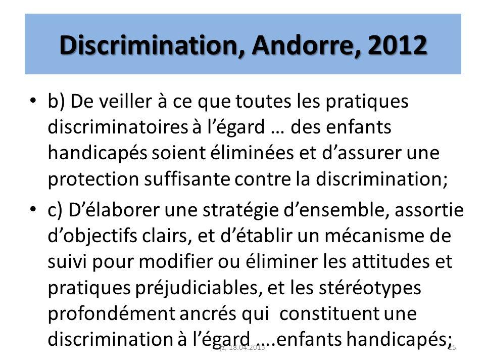 Discrimination, Andorre, 2012