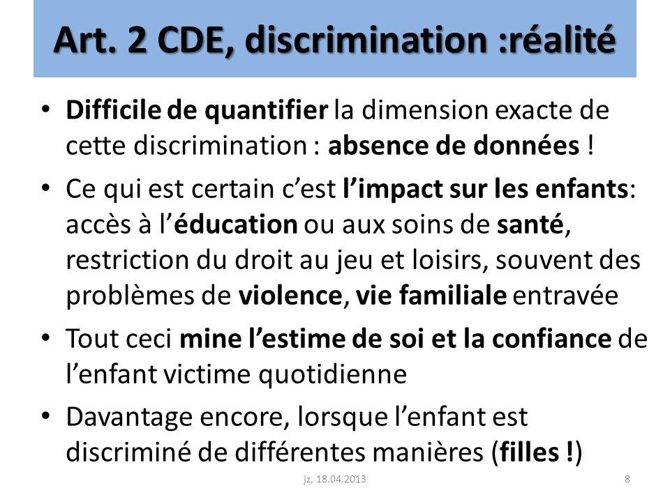Art. 2 CDE, discrimination :réalité