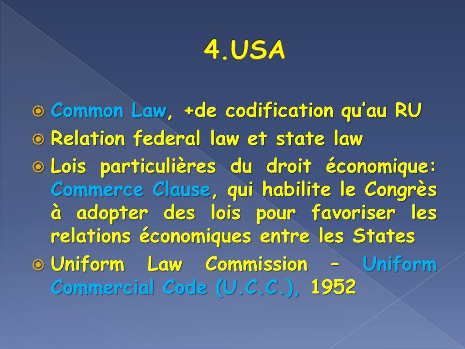 4.USA Common Law, +de codification qu'au RU