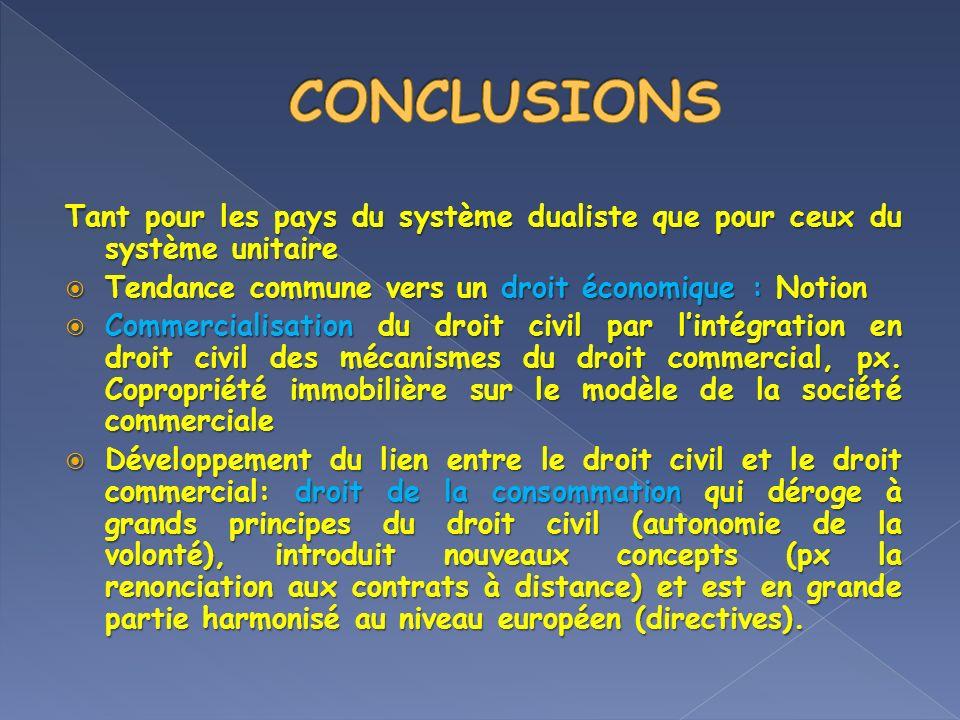 CONCLUSIONS Tant pour les pays du système dualiste que pour ceux du système unitaire. Tendance commune vers un droit économique : Notion.
