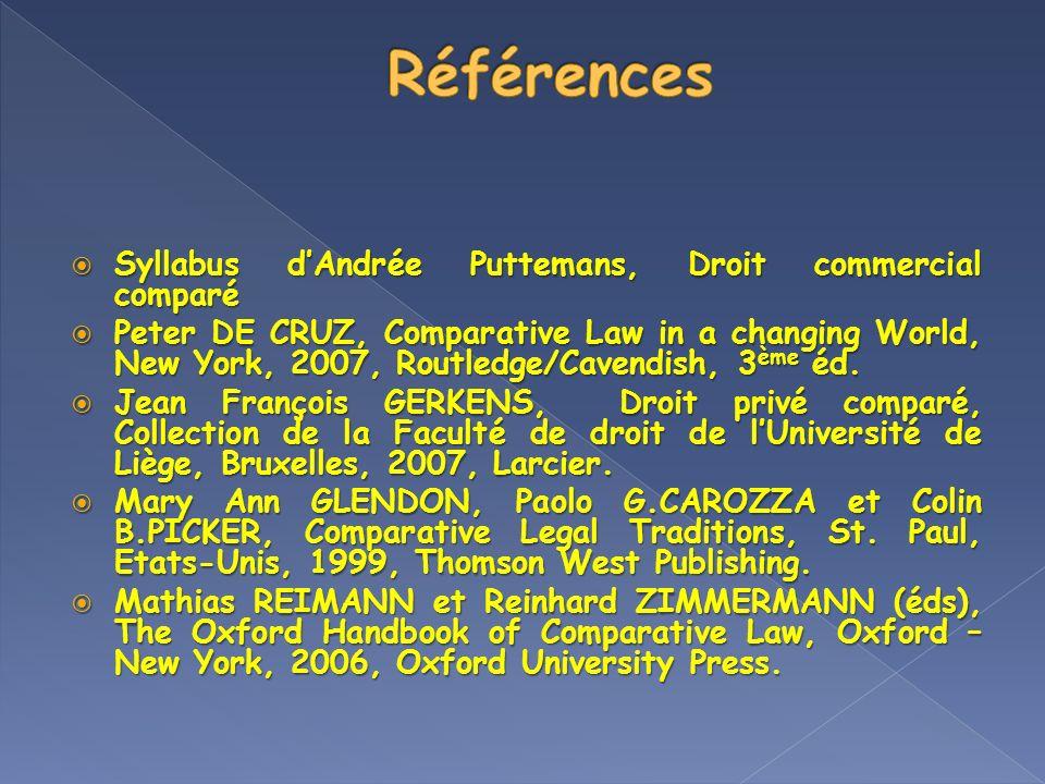 Références Syllabus d'Andrée Puttemans, Droit commercial comparé