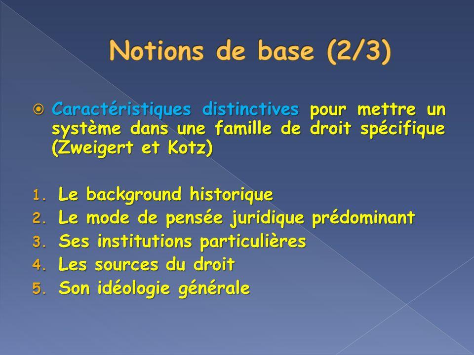 Notions de base (2/3) Caractéristiques distinctives pour mettre un système dans une famille de droit spécifique (Zweigert et Kotz)