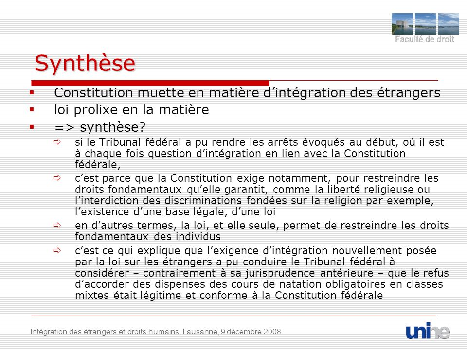 Synthèse Constitution muette en matière d'intégration des étrangers