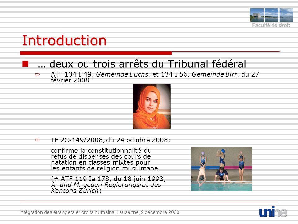 Introduction … deux ou trois arrêts du Tribunal fédéral