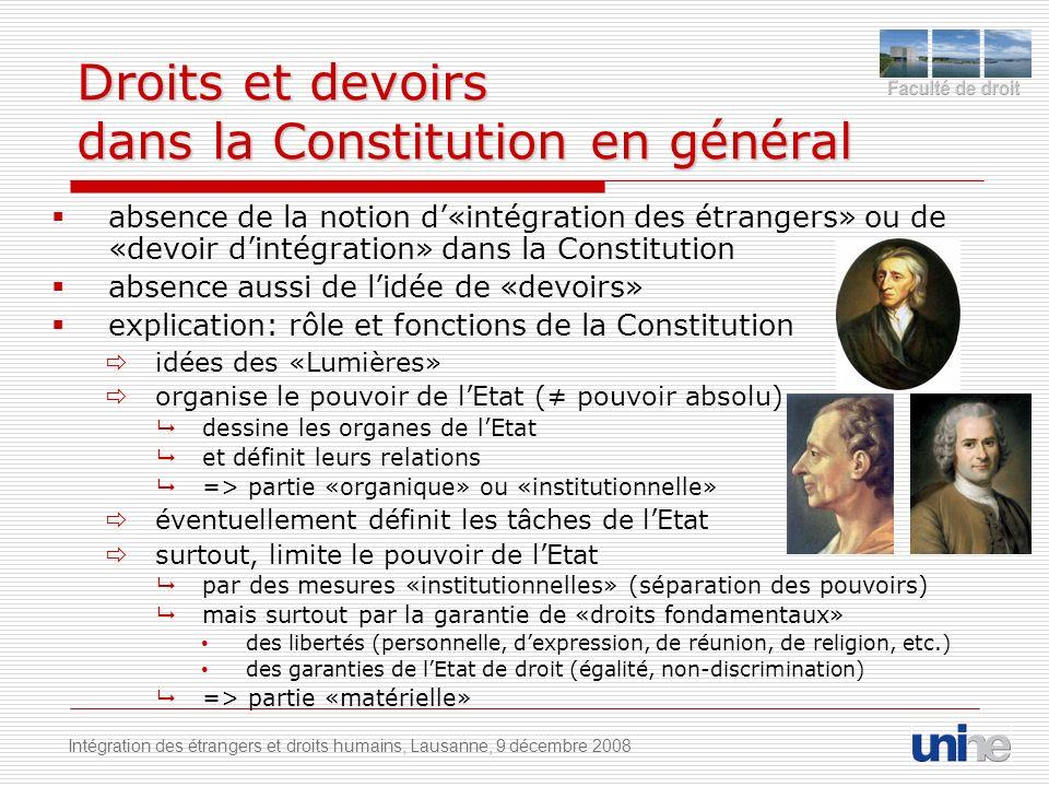 Droits et devoirs dans la Constitution en général