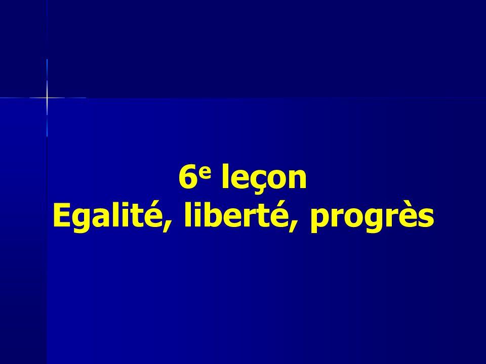 6e leçon Egalité, liberté, progrès