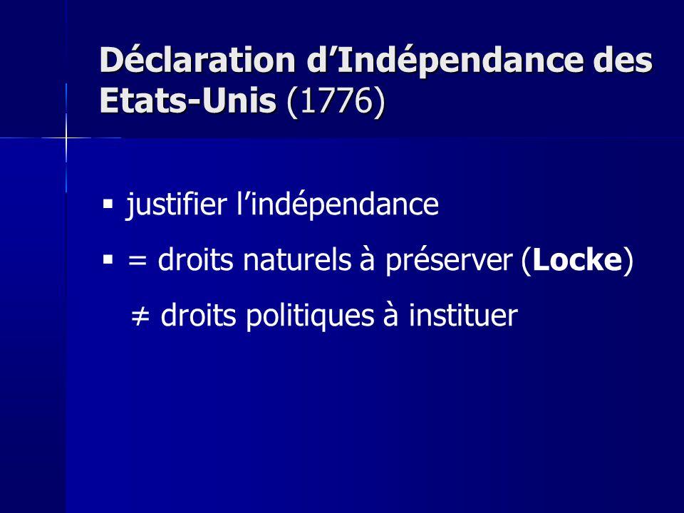 Déclaration d'Indépendance des Etats-Unis (1776)