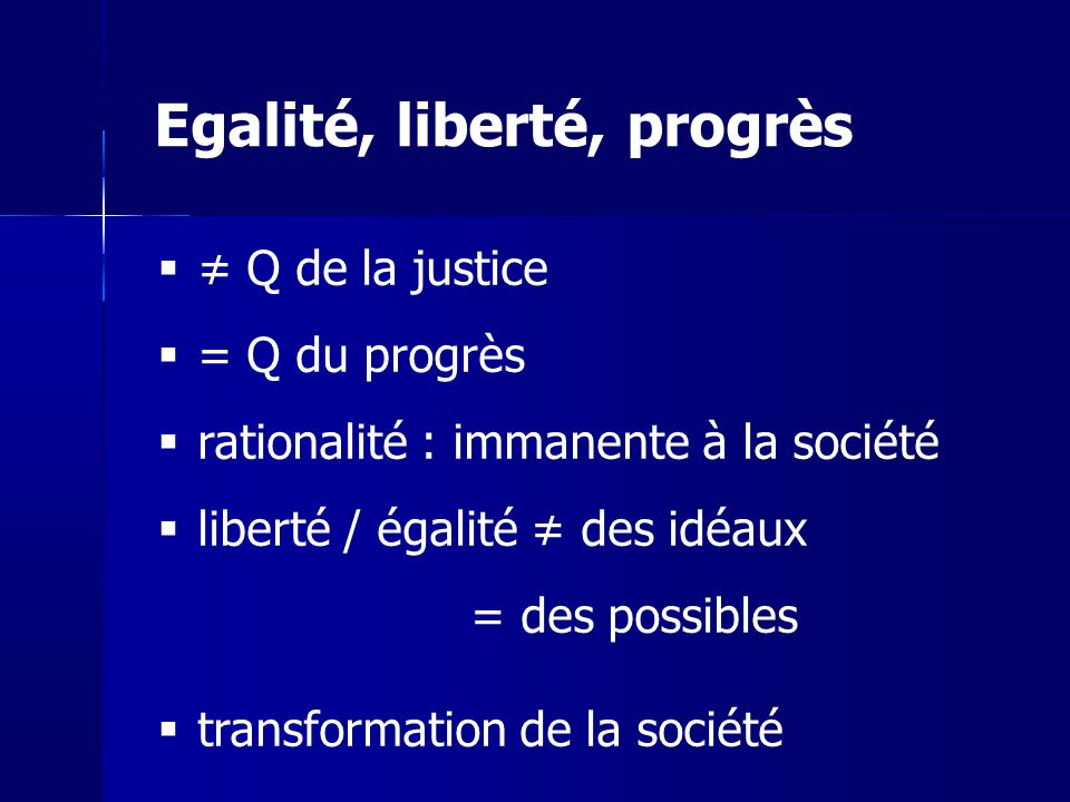 Egalité, liberté, progrès