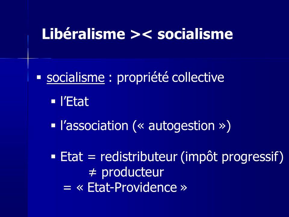 Libéralisme >< socialisme