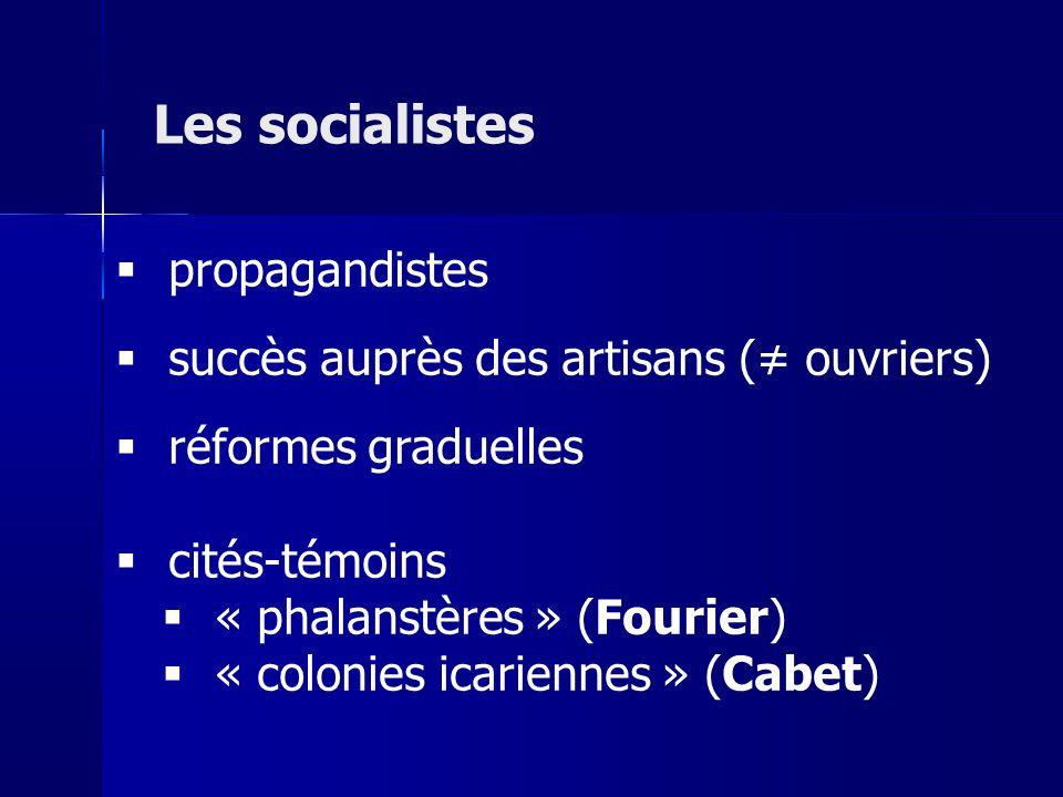 Les socialistes propagandistes succès auprès des artisans (≠ ouvriers)