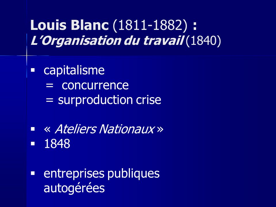 Louis Blanc (1811-1882) : L'Organisation du travail (1840)