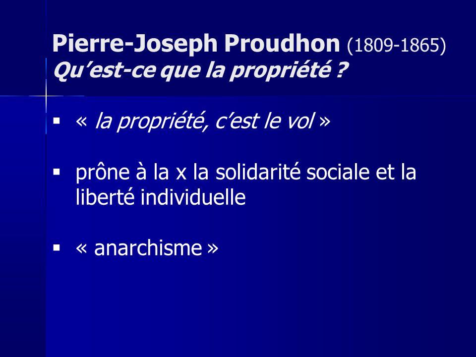 Pierre-Joseph Proudhon (1809-1865) Qu'est-ce que la propriété