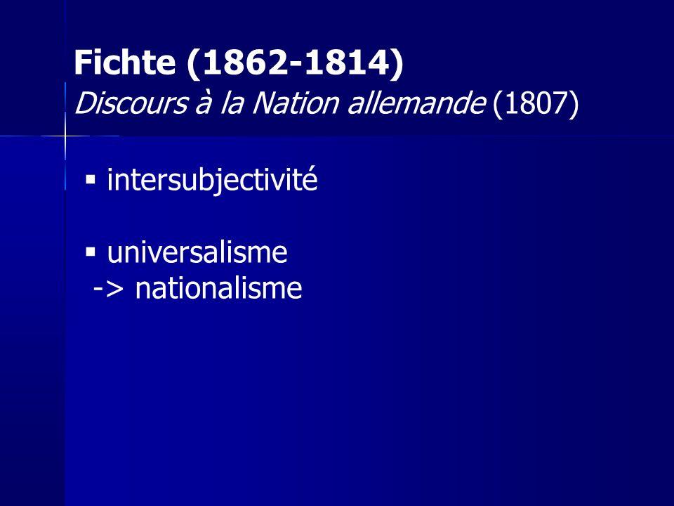 Fichte (1862-1814) Discours à la Nation allemande (1807)